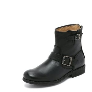 NEW Frye Leather Tyler Engineer Short Black Boots